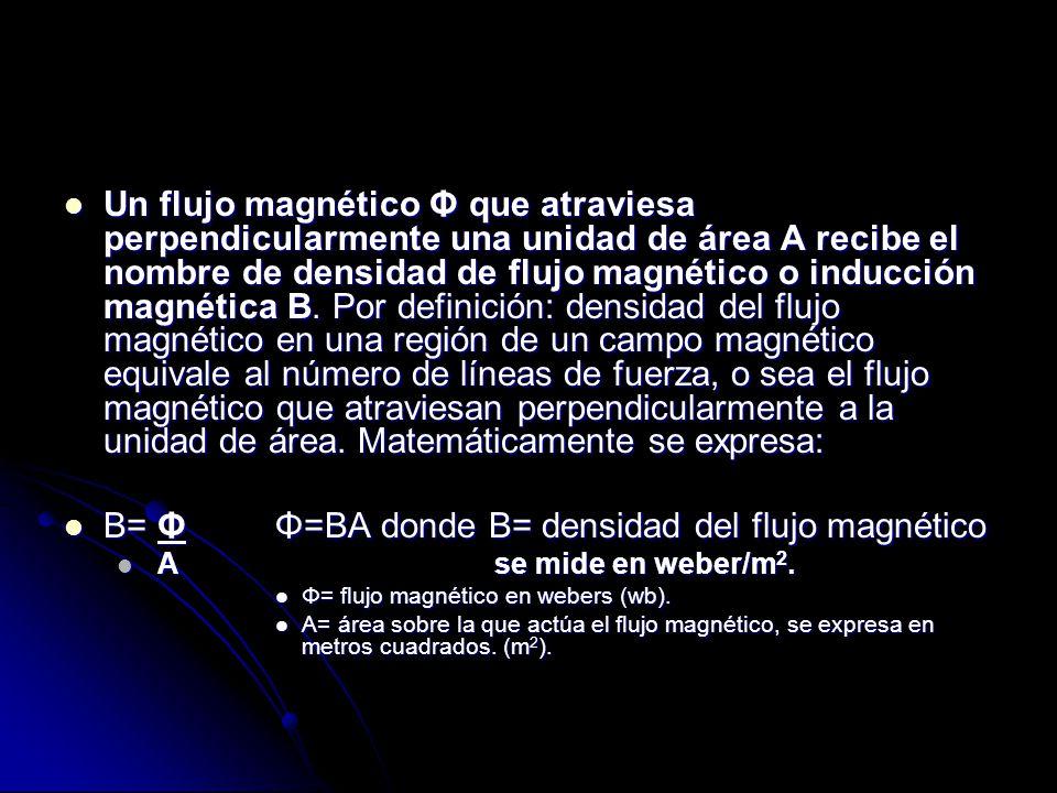 B= Φ Φ=BA donde B= densidad del flujo magnético