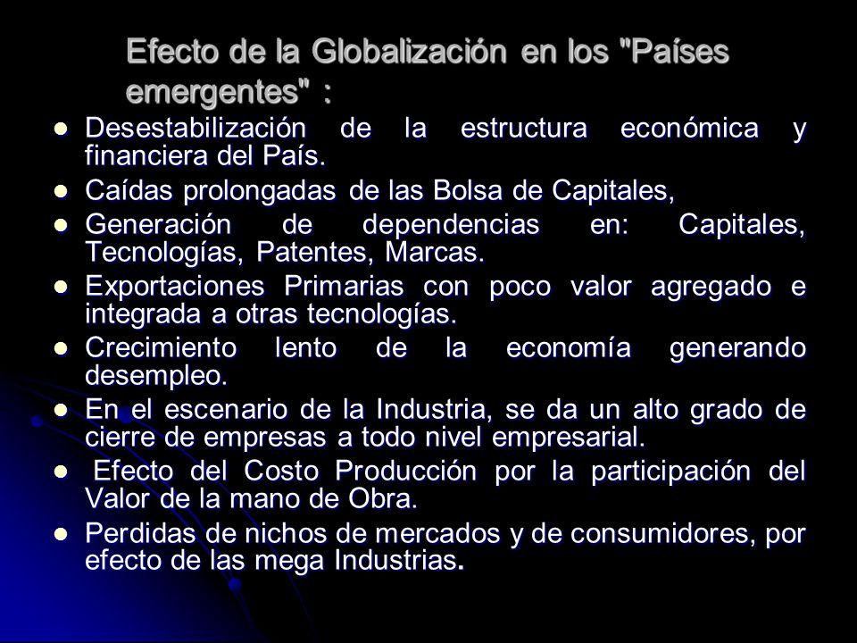 Efecto de la Globalización en los Países emergentes :