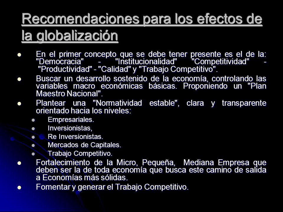 Recomendaciones para los efectos de la globalización