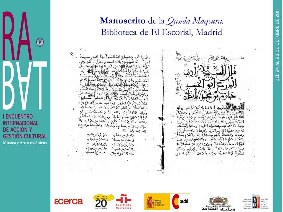 Manuscrito de la Qasida Maqsura. Biblioteca de El Escorial, Madrid