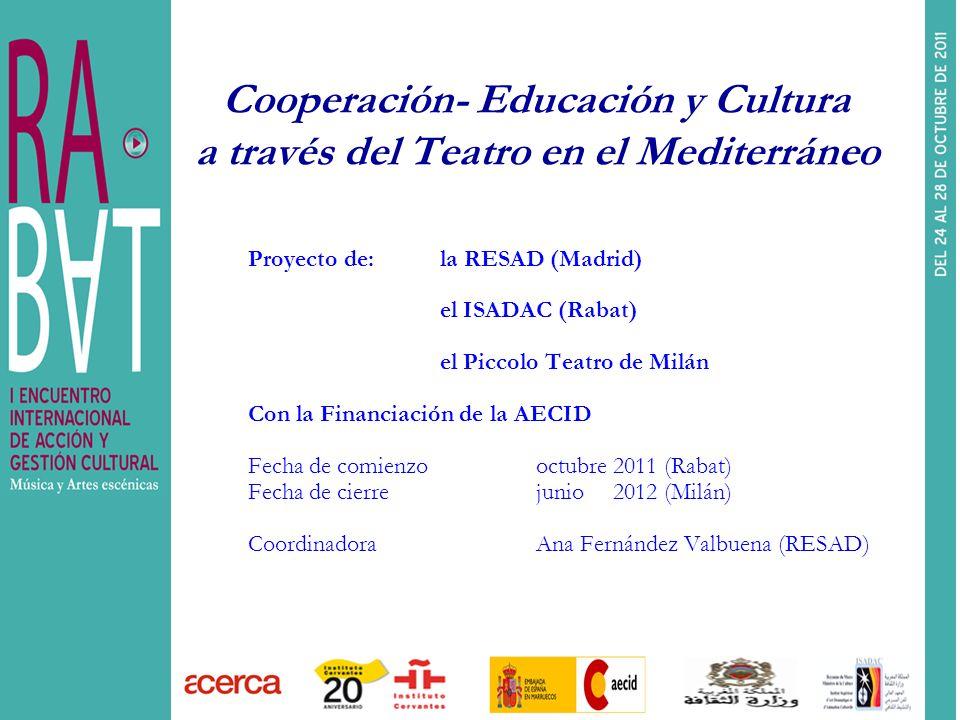 Cooperación- Educación y Cultura a través del Teatro en el Mediterráneo
