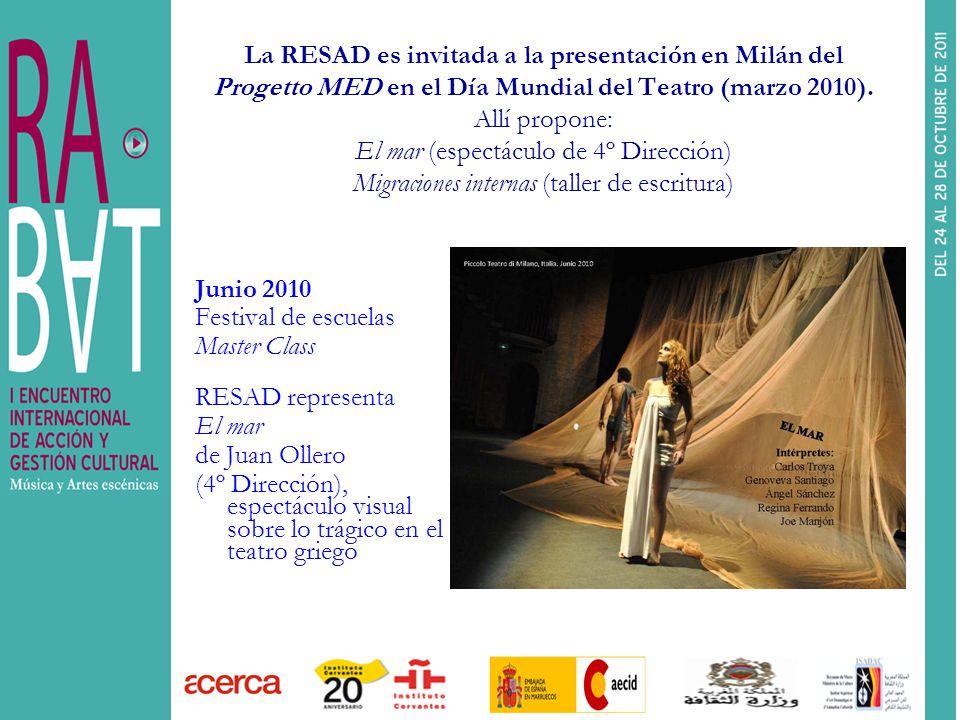 La RESAD es invitada a la presentación en Milán del Progetto MED en el Día Mundial del Teatro (marzo 2010). Allí propone: El mar (espectáculo de 4º Dirección) Migraciones internas (taller de escritura)
