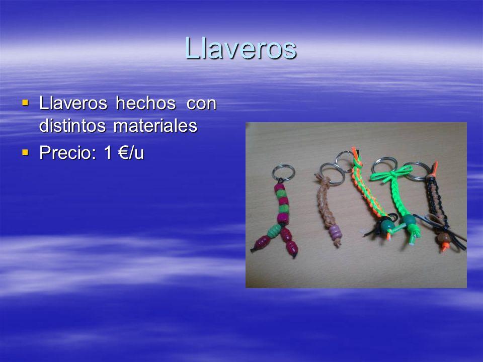 Llaveros Llaveros hechos con distintos materiales Precio: 1 €/u