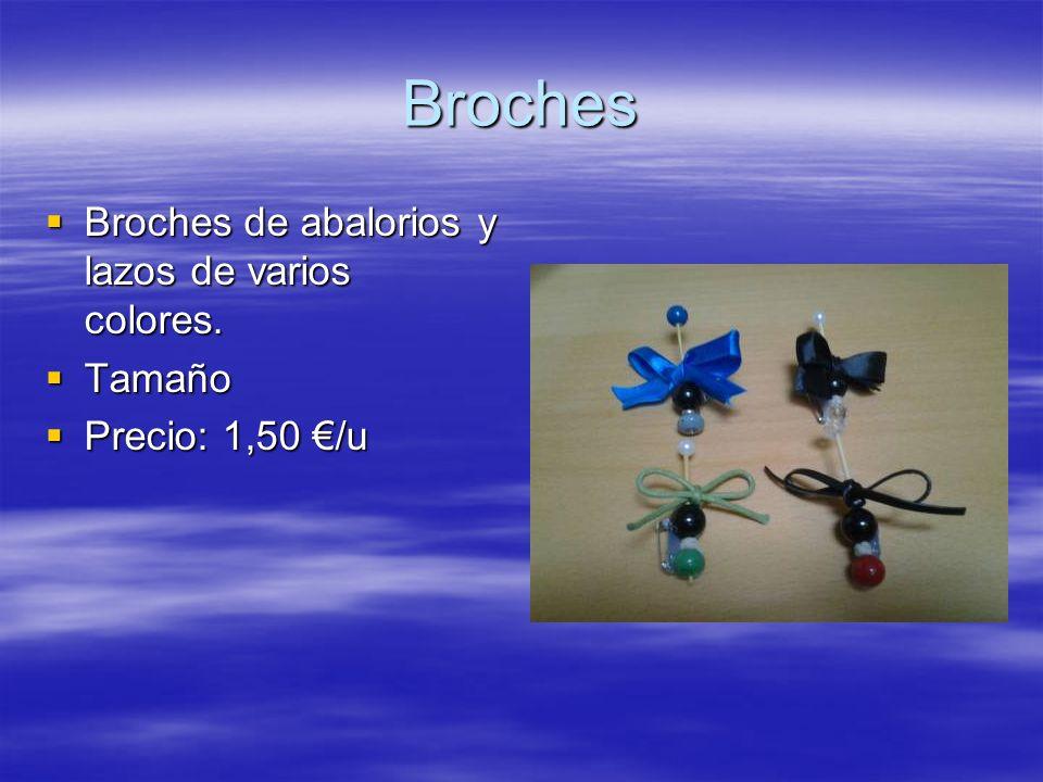 Broches Broches de abalorios y lazos de varios colores. Tamaño