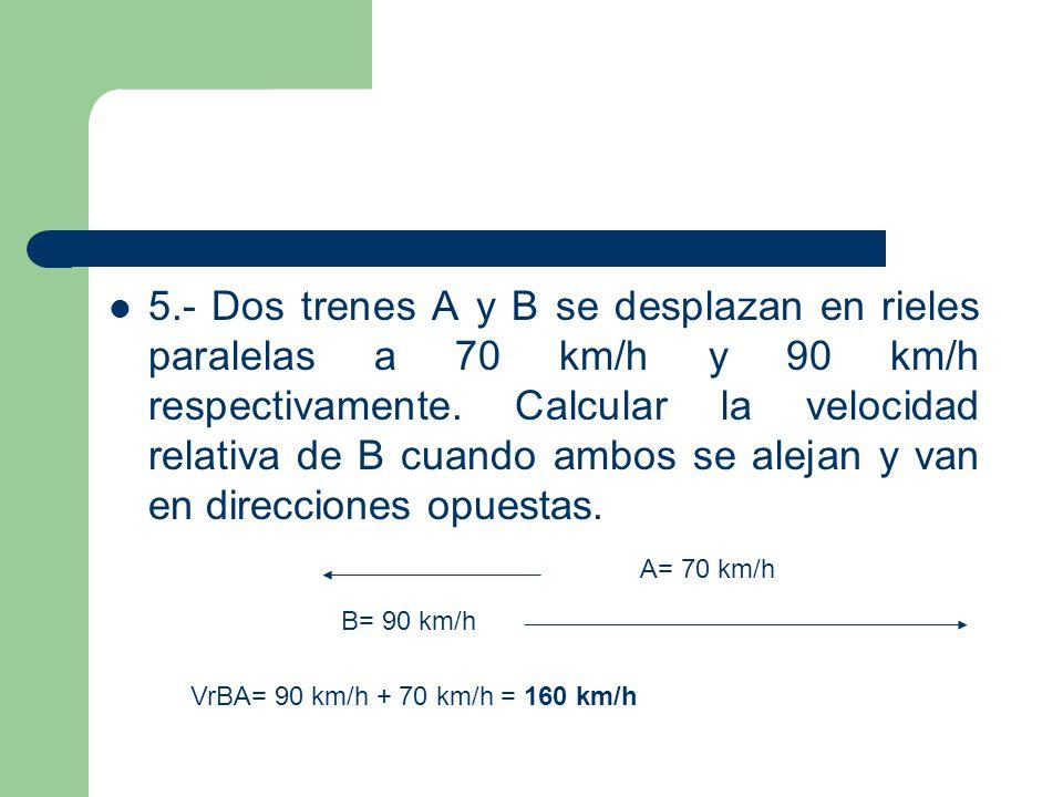 5.- Dos trenes A y B se desplazan en rieles paralelas a 70 km/h y 90 km/h respectivamente. Calcular la velocidad relativa de B cuando ambos se alejan y van en direcciones opuestas.