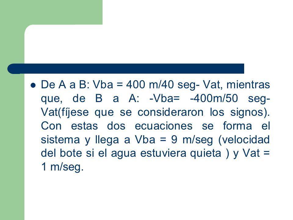 De A a B: Vba = 400 m/40 seg- Vat, mientras que, de B a A: -Vba= -400m/50 seg-Vat(fíjese que se consideraron los signos).