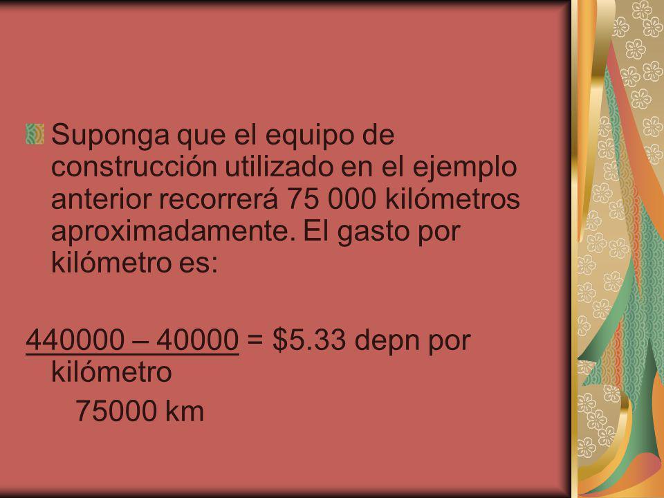 Suponga que el equipo de construcción utilizado en el ejemplo anterior recorrerá 75 000 kilómetros aproximadamente. El gasto por kilómetro es: