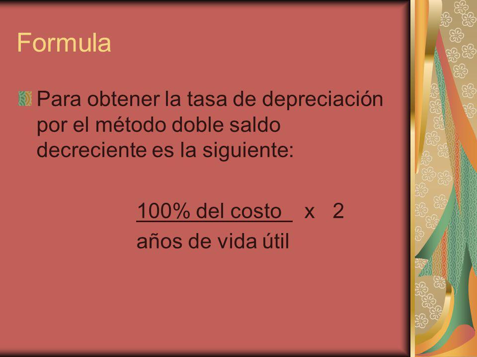 Formula Para obtener la tasa de depreciación por el método doble saldo decreciente es la siguiente: