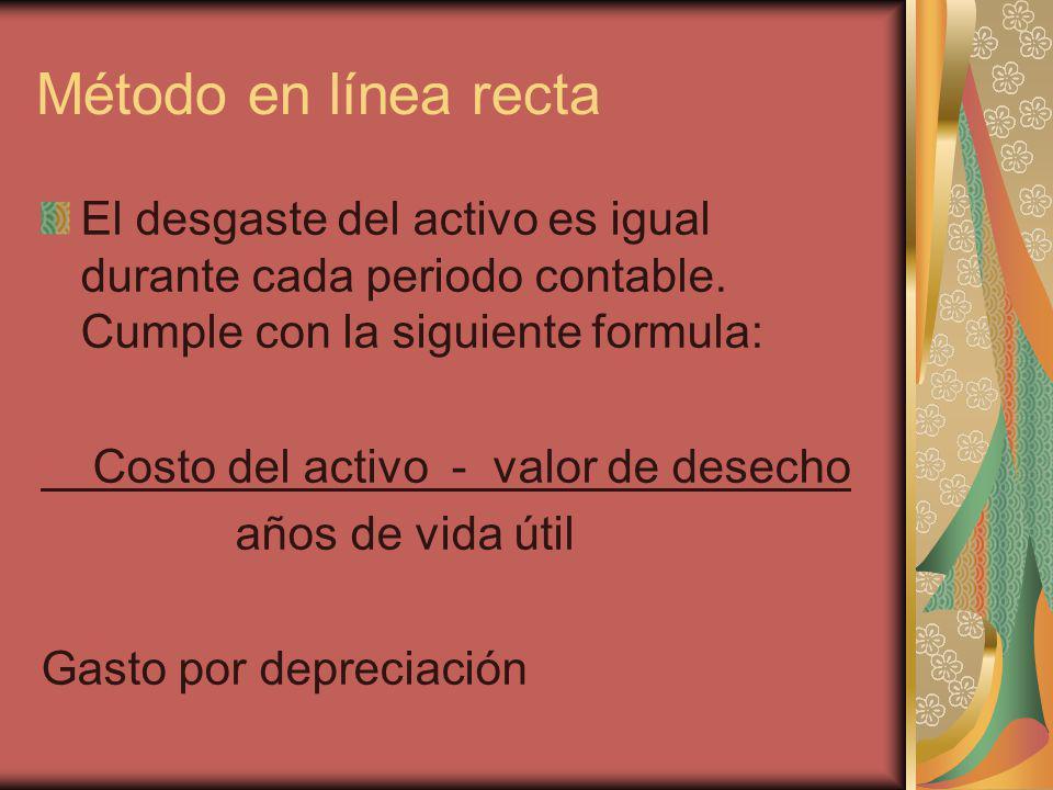 Método en línea recta El desgaste del activo es igual durante cada periodo contable. Cumple con la siguiente formula: