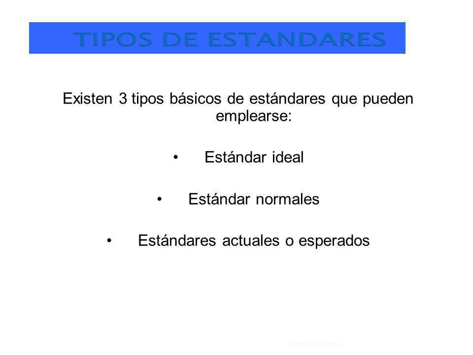 Existen 3 tipos básicos de estándares que pueden emplearse: