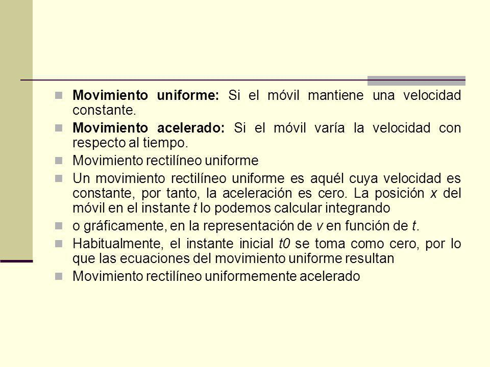 Movimiento uniforme: Si el móvil mantiene una velocidad constante.