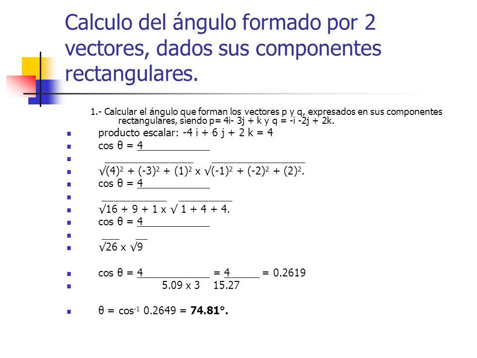 Calculo del ángulo formado por 2 vectores, dados sus componentes rectangulares.