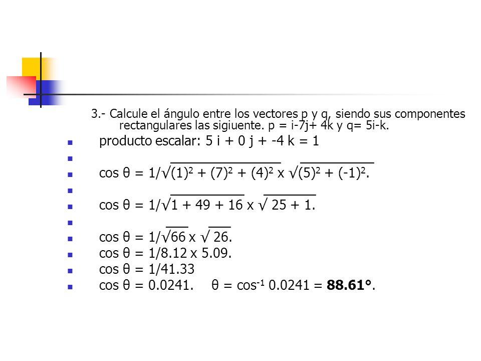 producto escalar: 5 i + 0 j + -4 k = 1 _______________ __________