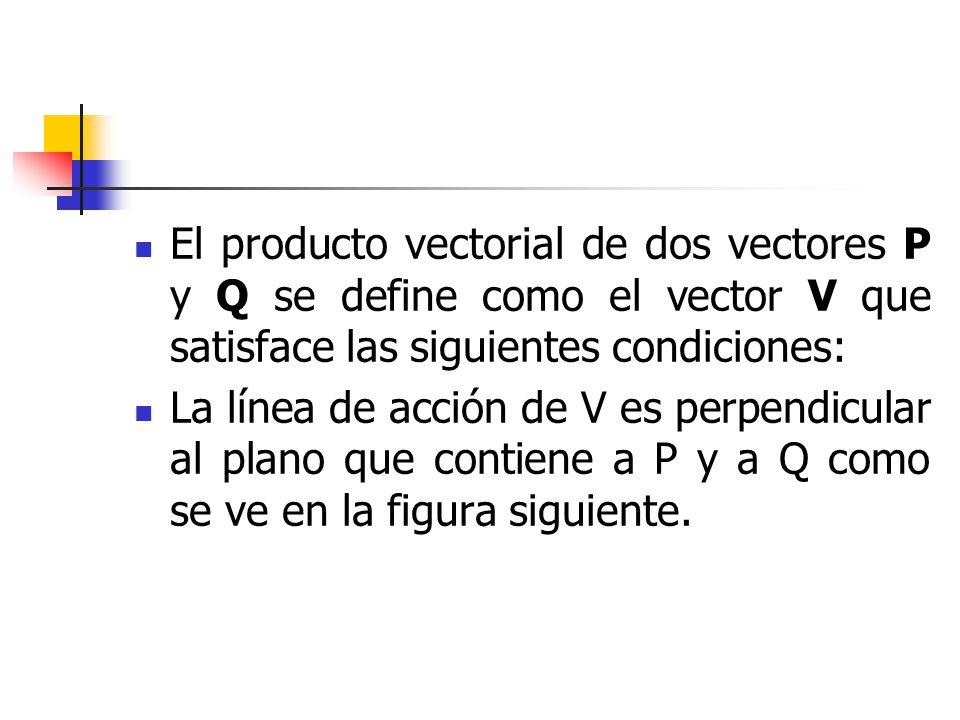 El producto vectorial de dos vectores P y Q se define como el vector V que satisface las siguientes condiciones: