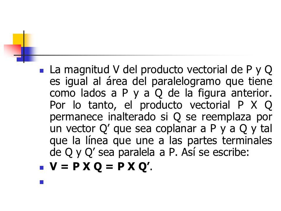 La magnitud V del producto vectorial de P y Q es igual al área del paralelogramo que tiene como lados a P y a Q de la figura anterior. Por lo tanto, el producto vectorial P X Q permanece inalterado si Q se reemplaza por un vector Q' que sea coplanar a P y a Q y tal que la línea que une a las partes terminales de Q y Q' sea paralela a P. Así se escribe: