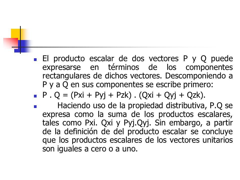 El producto escalar de dos vectores P y Q puede expresarse en términos de los componentes rectangulares de dichos vectores. Descomponiendo a P y a Q en sus componentes se escribe primero: