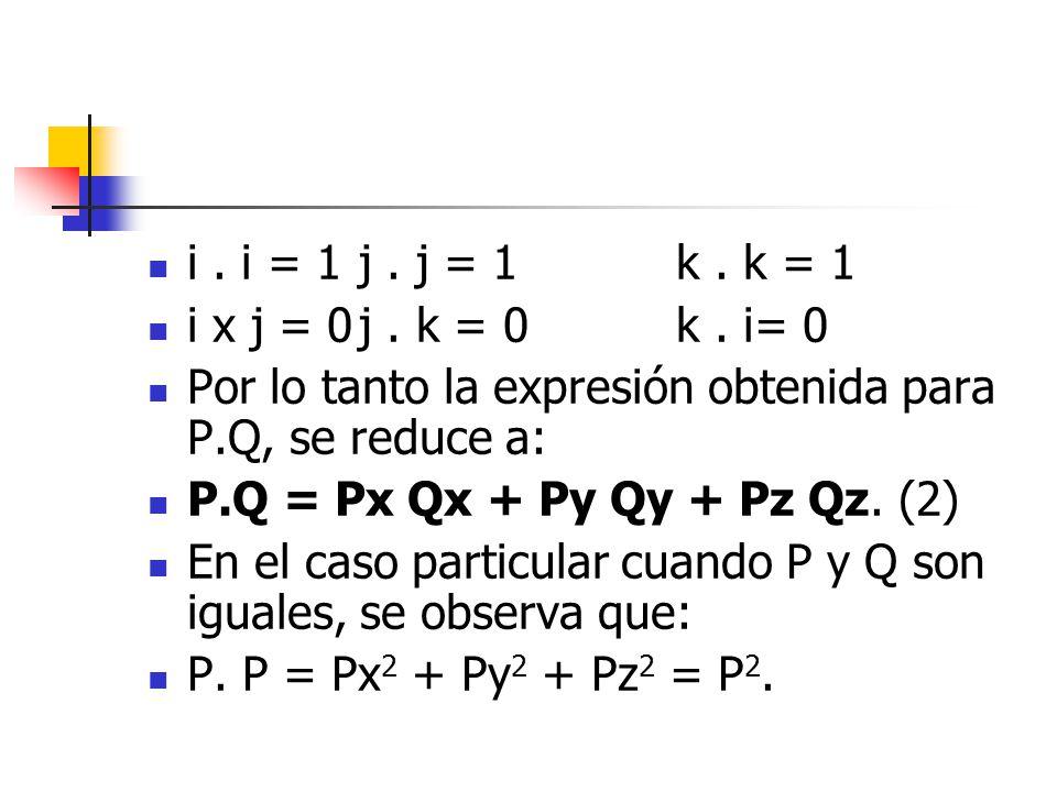 i . i = 1 j . j = 1 k . k = 1 i x j = 0 j . k = 0 k . i= 0. Por lo tanto la expresión obtenida para P.Q, se reduce a:
