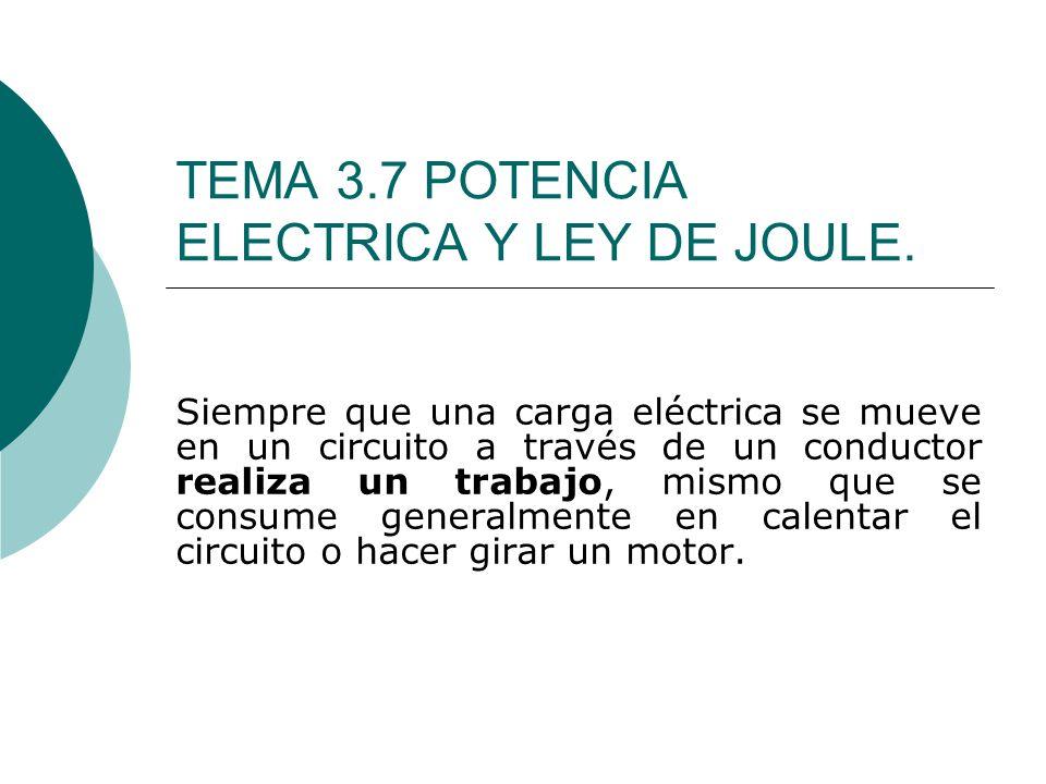 TEMA 3.7 POTENCIA ELECTRICA Y LEY DE JOULE.