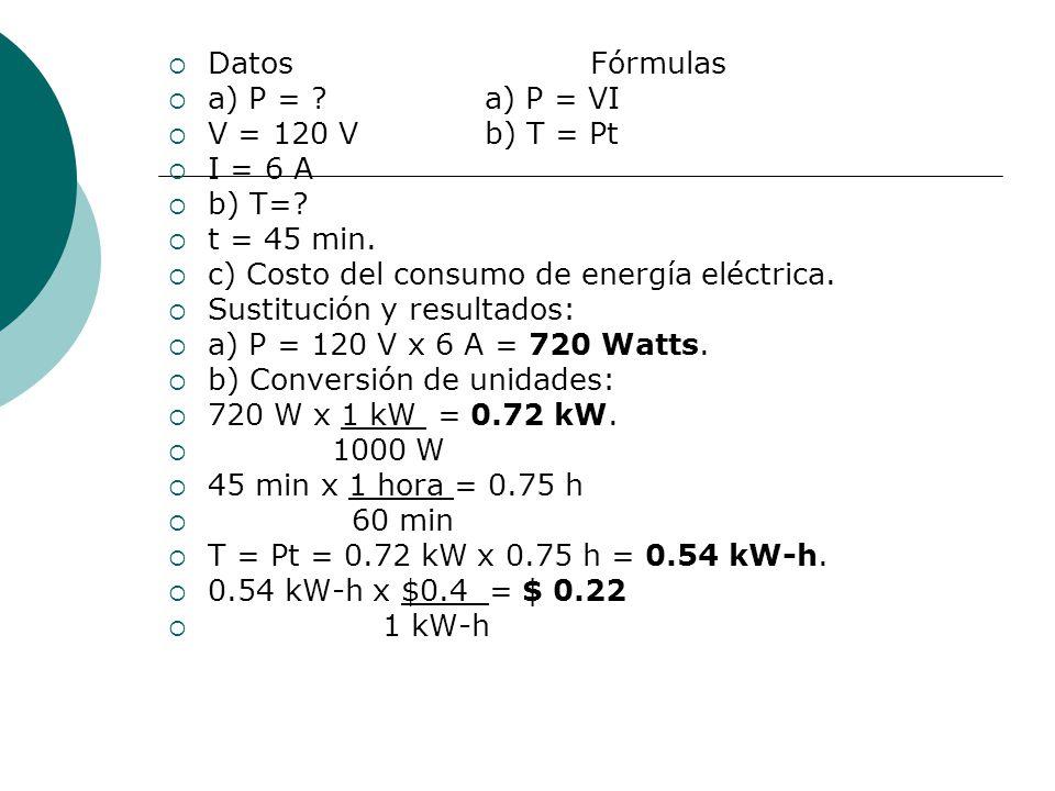 Datos Fórmulas a) P = a) P = VI. V = 120 V b) T = Pt. I = 6 A. b) T= t = 45 min. c) Costo del consumo de energía eléctrica.