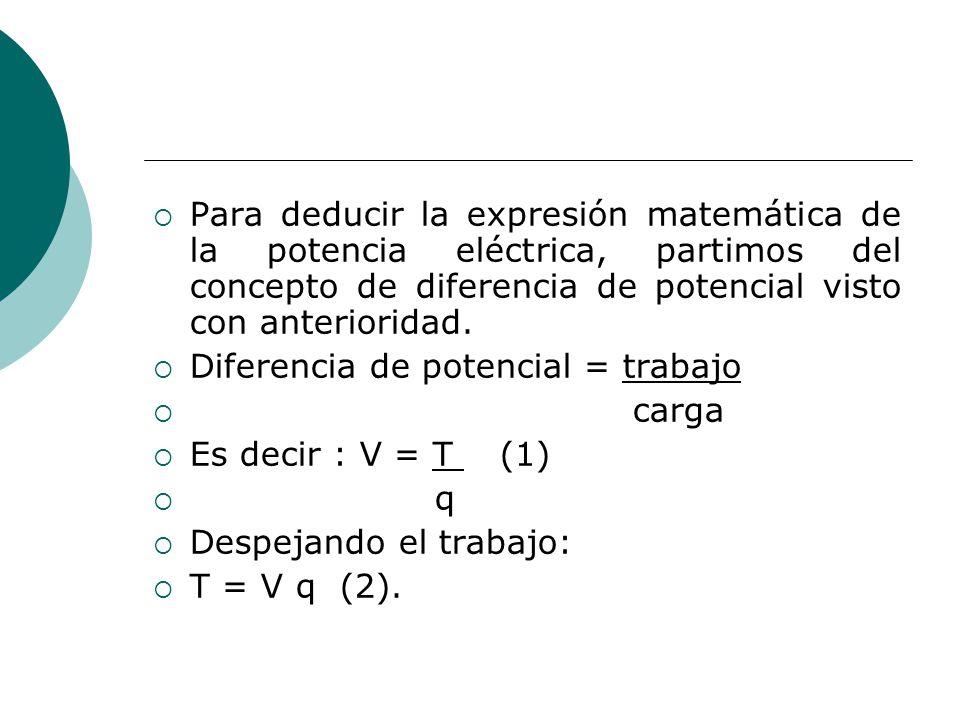 Para deducir la expresión matemática de la potencia eléctrica, partimos del concepto de diferencia de potencial visto con anterioridad.