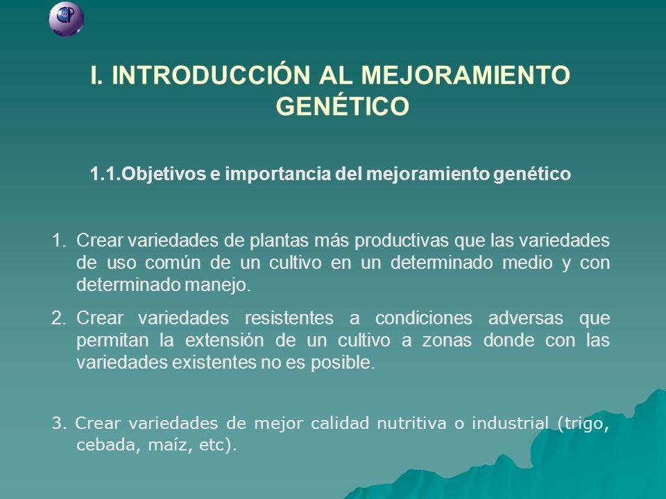 I. INTRODUCCIÓN AL MEJORAMIENTO GENÉTICO