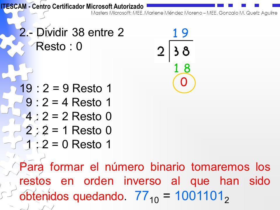 2.- Dividir 38 entre 2 Resto : 0. 19 : 2 = 9 Resto 1. 9 : 2 = 4 Resto 1. 4 : 2 = 2 Resto 0. 2 : 2 = 1 Resto 0.
