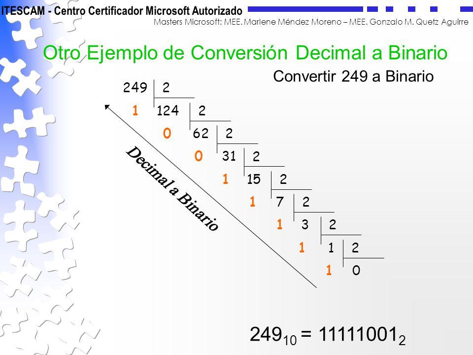 Otro Ejemplo de Conversión Decimal a Binario