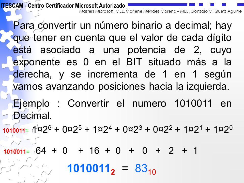 Para convertir un número binario a decimal; hay que tener en cuenta que el valor de cada dígito está asociado a una potencia de 2, cuyo exponente es 0 en el BIT situado más a la derecha, y se incrementa de 1 en 1 según vamos avanzando posiciones hacia la izquierda.