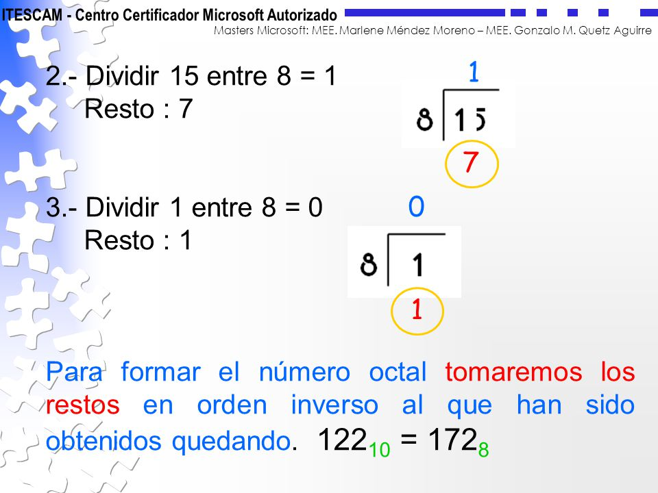2.- Dividir 15 entre 8 = 1 Resto : 7. 3.- Dividir 1 entre 8 = 0. Resto : 1.
