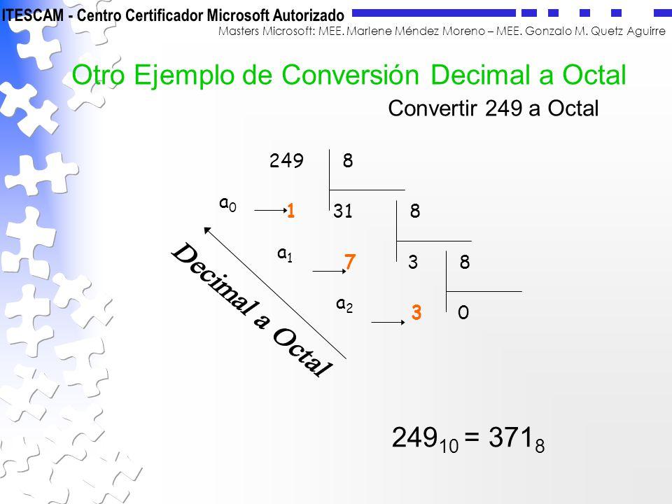 Otro Ejemplo de Conversión Decimal a Octal