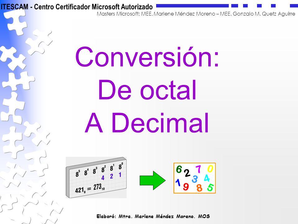 Conversión: De octal A Decimal