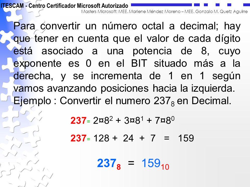 Para convertir un número octal a decimal; hay que tener en cuenta que el valor de cada dígito está asociado a una potencia de 8, cuyo exponente es 0 en el BIT situado más a la derecha, y se incrementa de 1 en 1 según vamos avanzando posiciones hacia la izquierda.