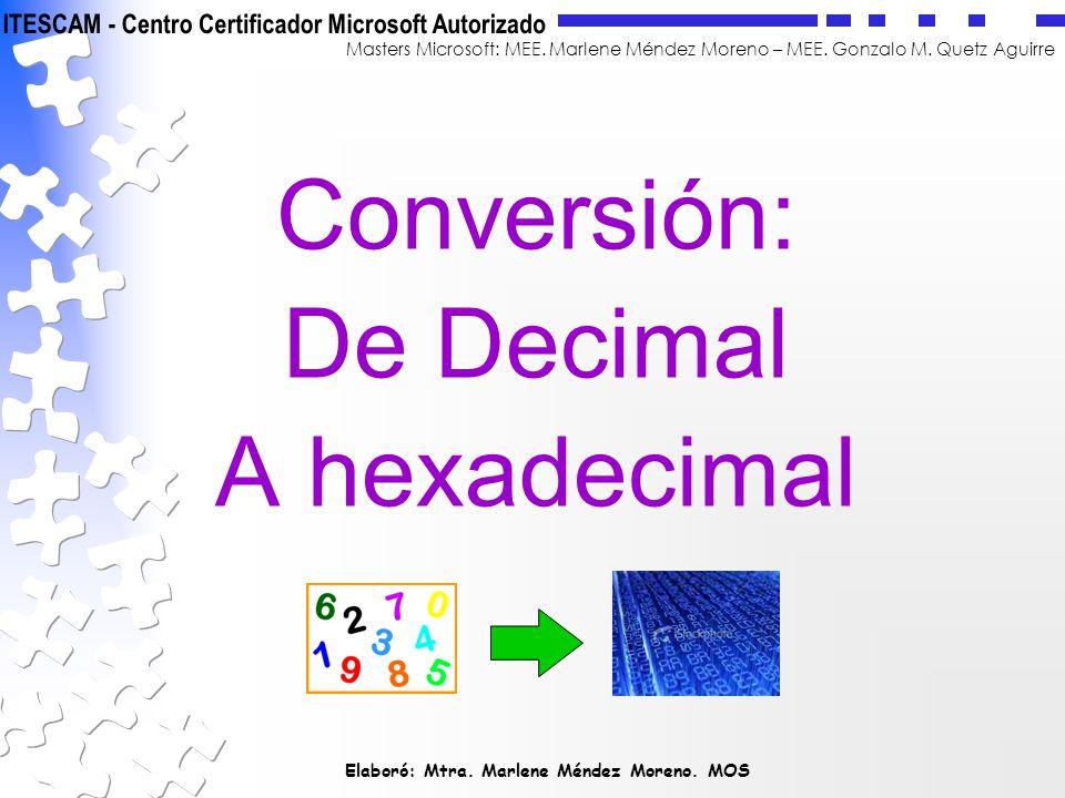 Conversión: De Decimal A hexadecimal