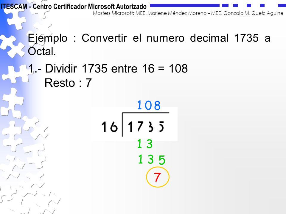1.- Dividir 1735 entre 16 = 108 Resto : 7 1 8 1 3 1 3 5 7