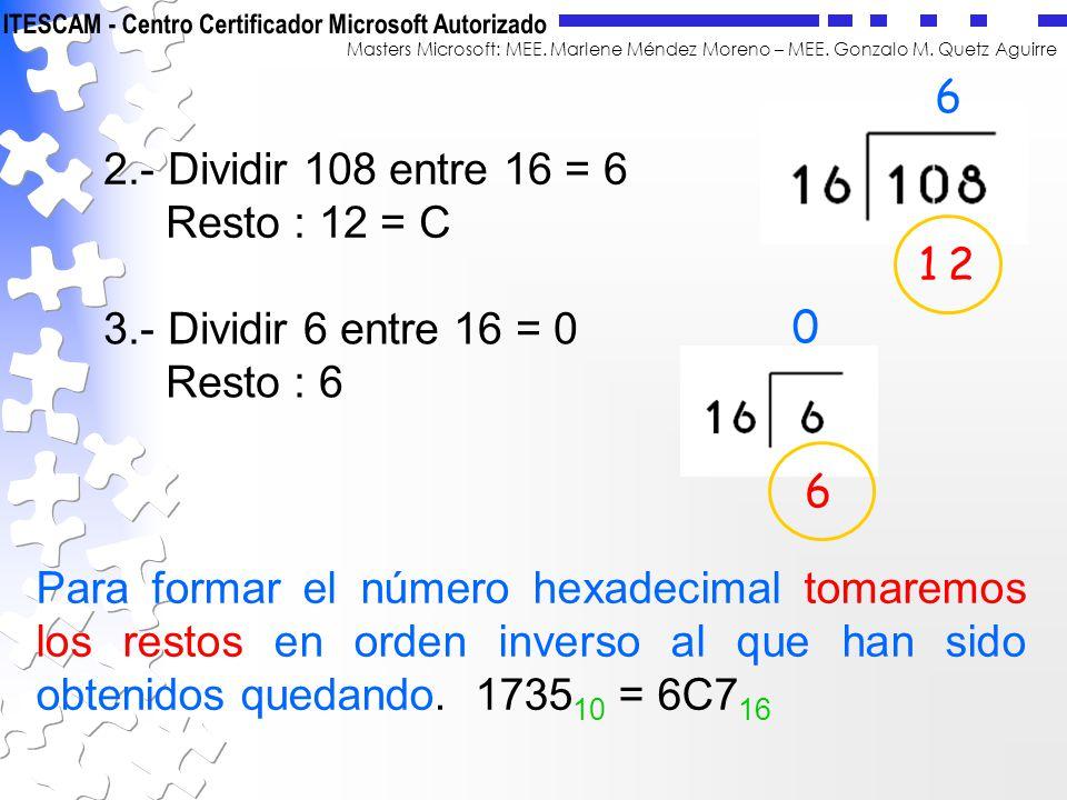6 2.- Dividir 108 entre 16 = 6. Resto : 12 = C. 1. 2. 3.- Dividir 6 entre 16 = 0. Resto : 6. 6.