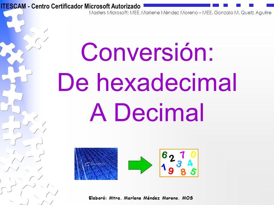 Conversión: De hexadecimal A Decimal