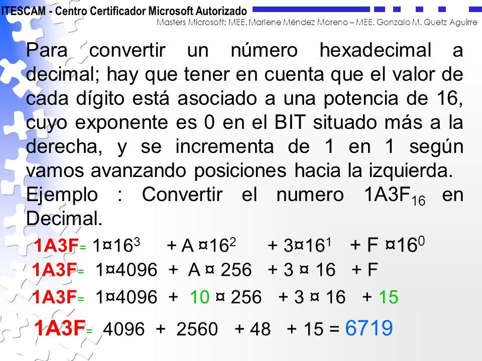 Para convertir un número hexadecimal a decimal; hay que tener en cuenta que el valor de cada dígito está asociado a una potencia de 16, cuyo exponente es 0 en el BIT situado más a la derecha, y se incrementa de 1 en 1 según vamos avanzando posiciones hacia la izquierda.
