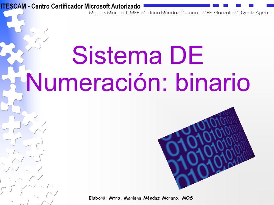 Sistema DE Numeración: binario