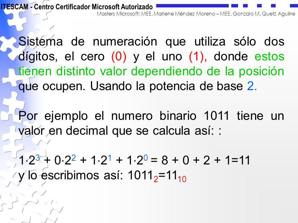 Sistema de numeración que utiliza sólo dos dígitos, el cero (0) y el uno (1), donde estos tienen distinto valor dependiendo de la posición que ocupen. Usando la potencia de base 2.