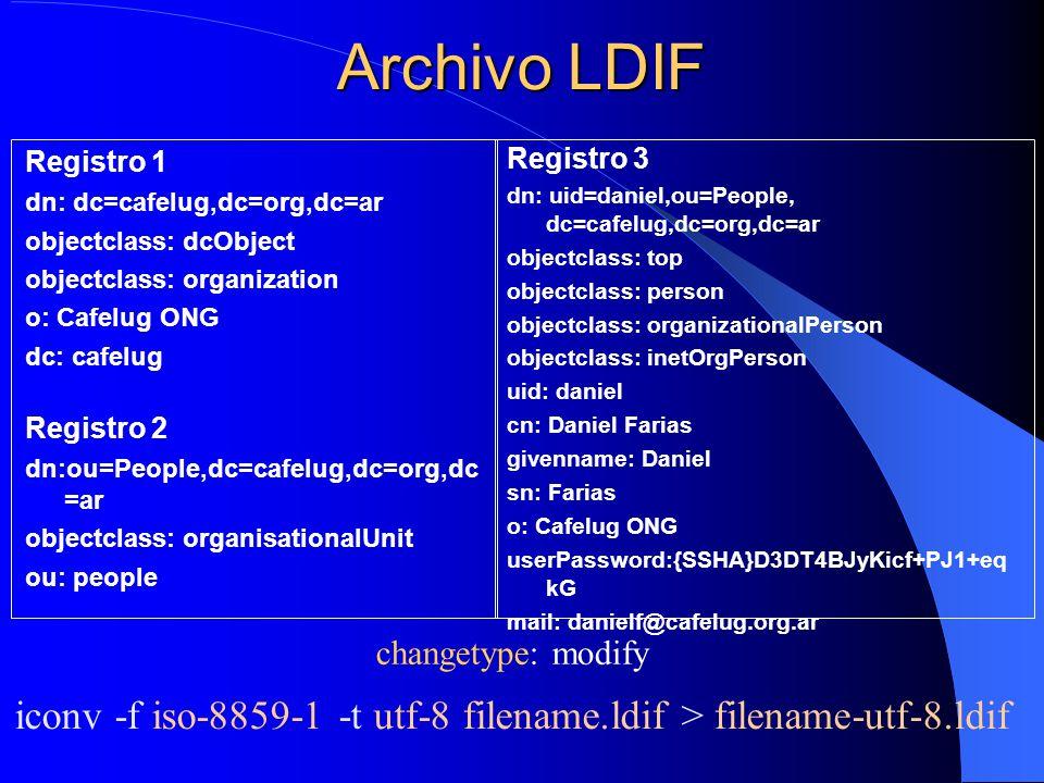 Archivo LDIF Registro 1. dn: dc=cafelug,dc=org,dc=ar. objectclass: dcObject. objectclass: organization.