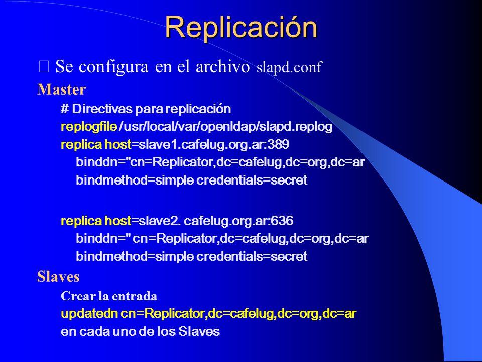 Replicación Se configura en el archivo slapd.conf Master Slaves