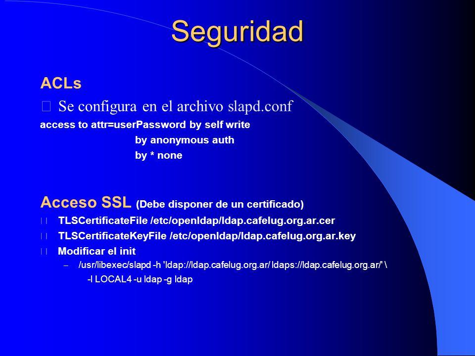Seguridad ACLs Se configura en el archivo slapd.conf