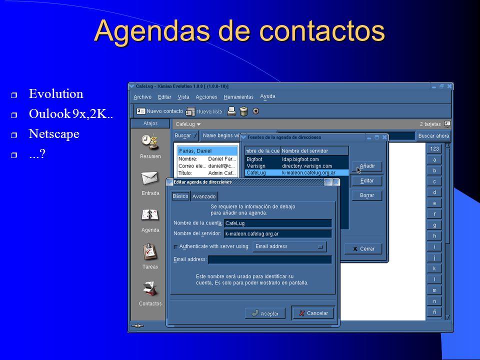 Agendas de contactos Evolution Oulook 9x,2K.. Netscape ...