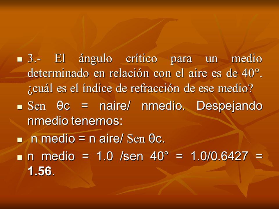 3.- El ángulo crítico para un medio determinado en relación con el aire es de 40°. ¿cuál es el índice de refracción de ese medio