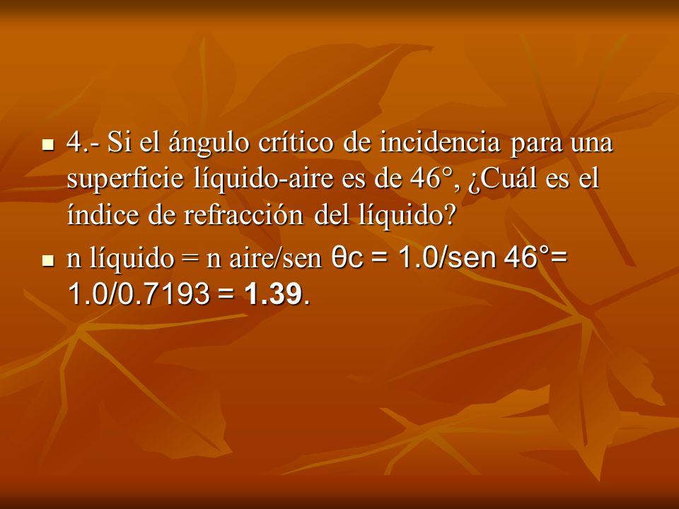 4.- Si el ángulo crítico de incidencia para una superficie líquido-aire es de 46°, ¿Cuál es el índice de refracción del líquido