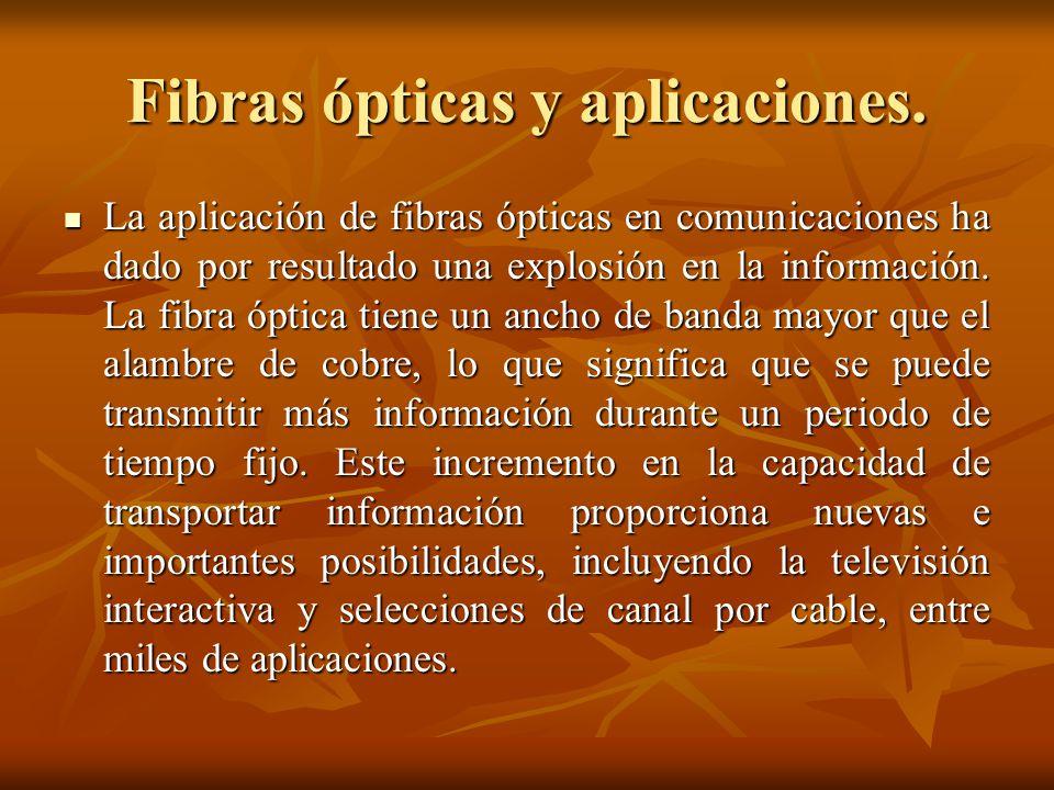 Fibras ópticas y aplicaciones.