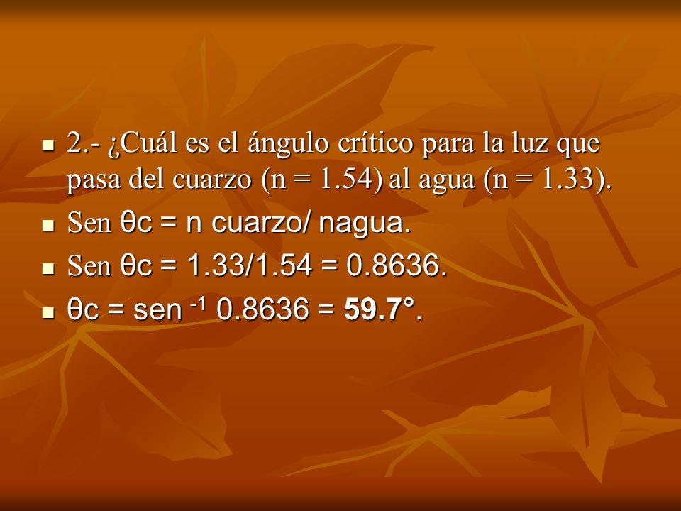 2. - ¿Cuál es el ángulo crítico para la luz que pasa del cuarzo (n = 1