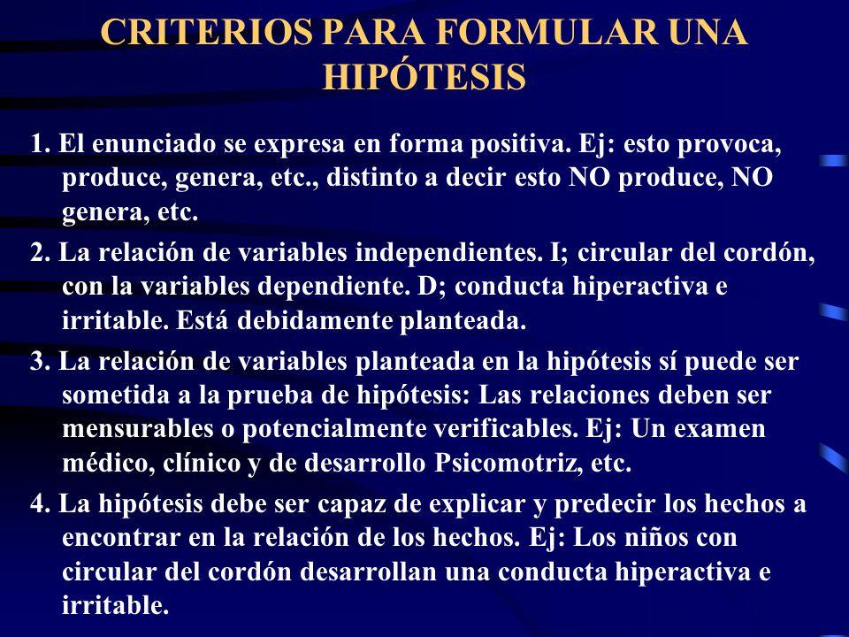 CRITERIOS PARA FORMULAR UNA HIPÓTESIS