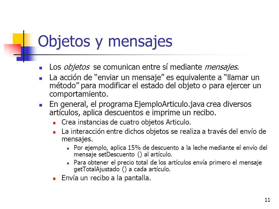 Objetos y mensajes Los objetos se comunican entre sí mediante mensajes.