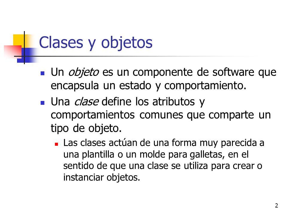 Clases y objetos Un objeto es un componente de software que encapsula un estado y comportamiento.
